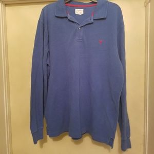 American eagle blue long sleeve polo L